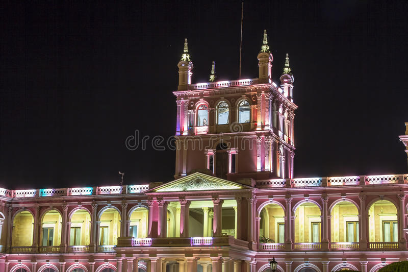 Lopez presidential palace. Asuncion, Paraguay capital. Lopez presidential palace at night in Asuncion, Paraguay capital royalty free stock photo