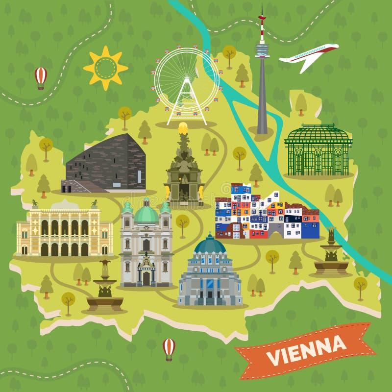 Loppöversikt av Wien, Österrike med gränsmärken royaltyfri illustrationer