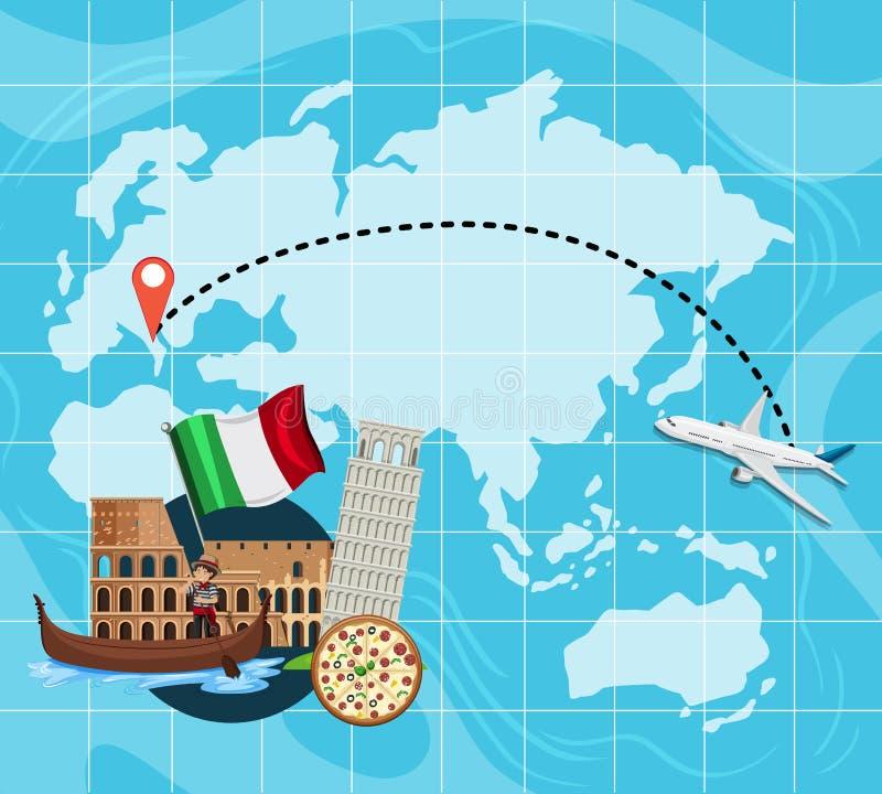 Loppöversikt till Italien stock illustrationer