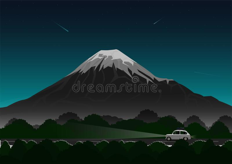 Lopp, bil reser till och med skogar, och vulkan för vägtur som, på natten med himlen och stjärnorna stock illustrationer