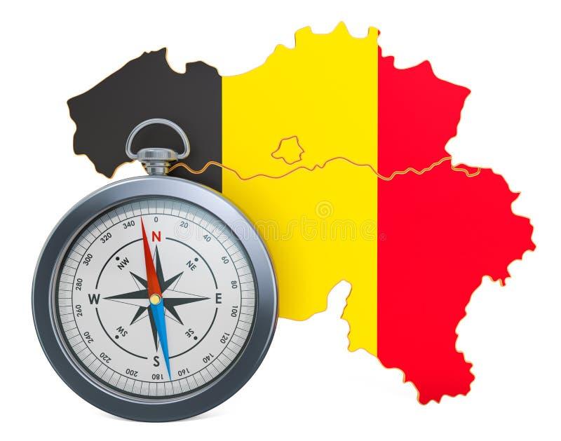 Lopp eller turism i det Belgien begreppet framf?rande 3d stock illustrationer