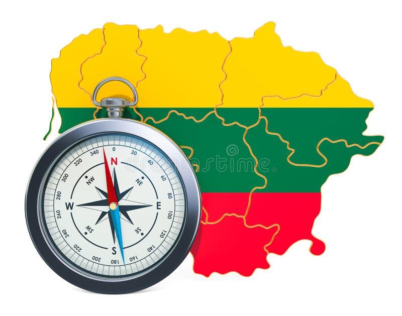 Lopp eller turism i det Litauen begreppet framf?rande 3d stock illustrationer