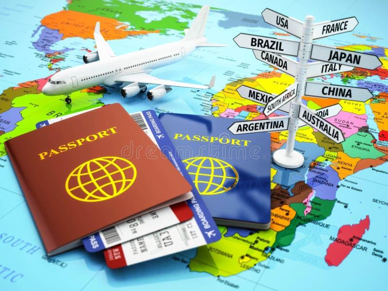 Lopp- eller turismbegrepp Pass, flygplan, airtickets och de stock illustrationer