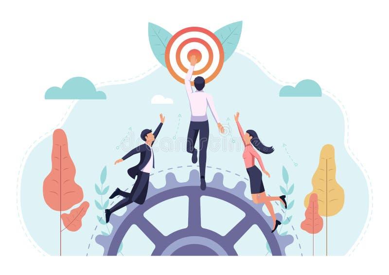 Lopp för affärsfolk som först når målet stock illustrationer