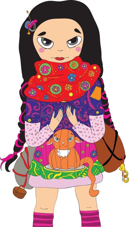 lopp för animekattflicka royaltyfri illustrationer