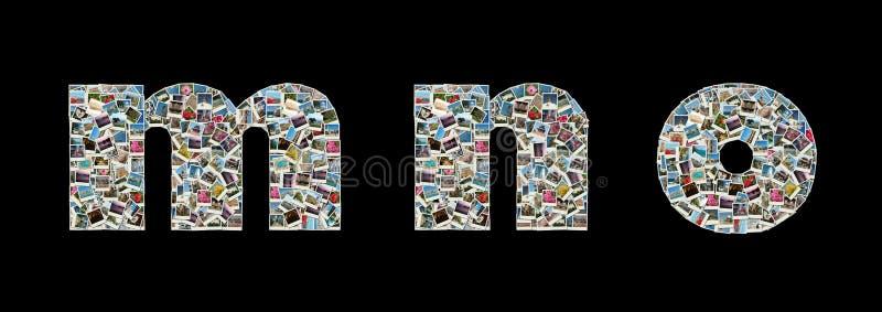 lopp för foto för collageliteras M n o arkivbild