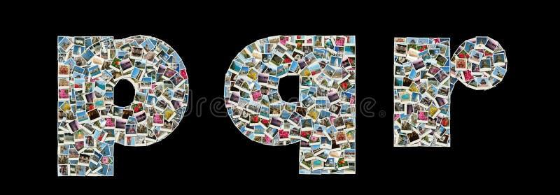 lopp för foto q r för collageliteras p arkivfoto