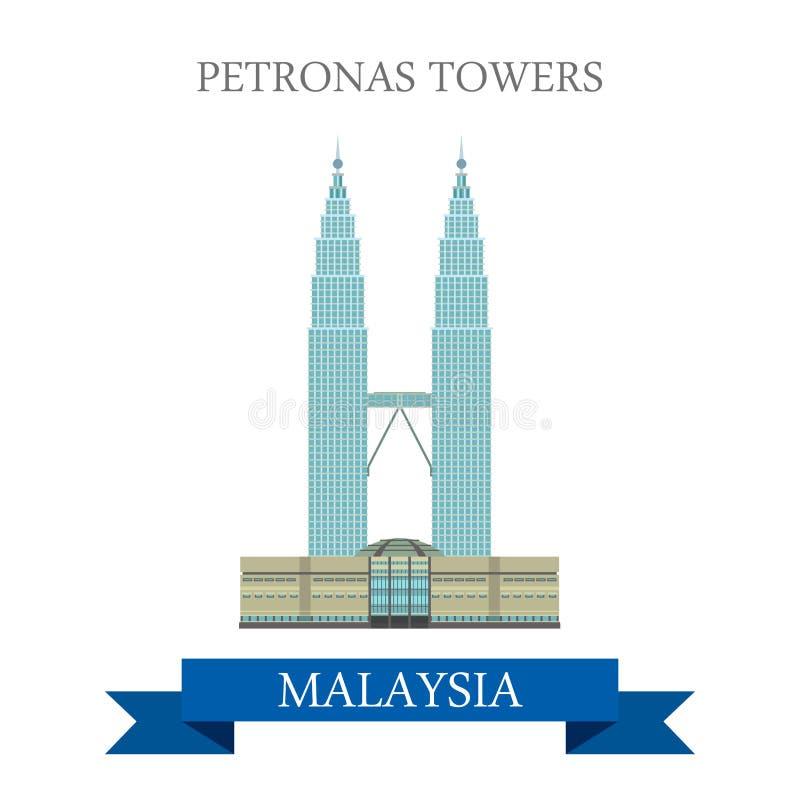 Lopp för Petronas tvillingbroderKuala Lumpur Malaysia dragning vektor illustrationer