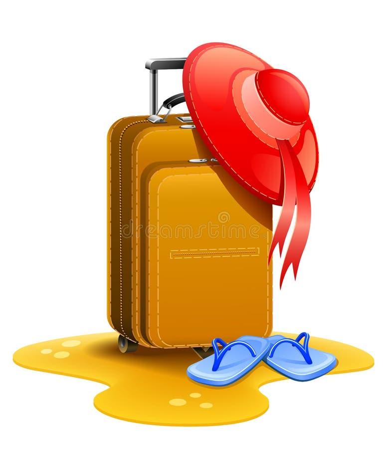 lopp för resväska för hättakvinnlighäftklammermatare stock illustrationer