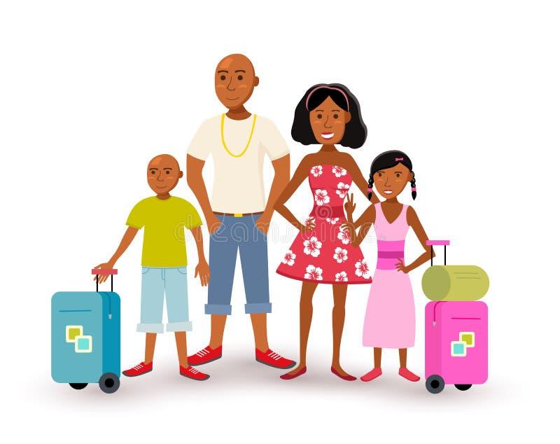 Lopp för semester för afrikansk amerikanfamiljsommar vektor illustrationer