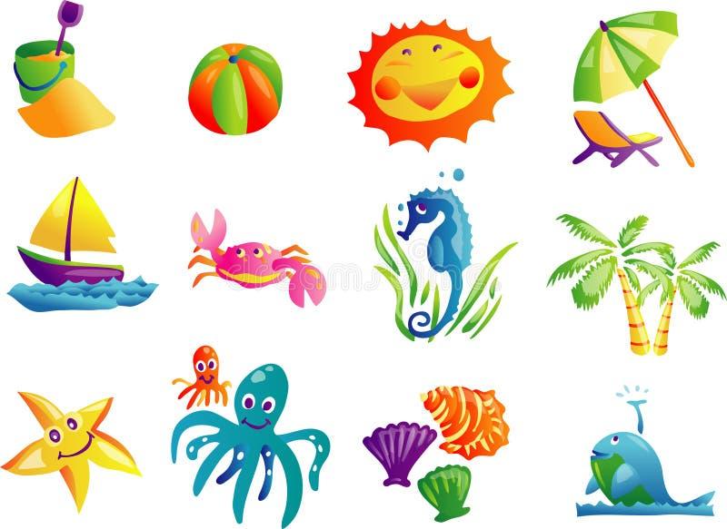 lopp för sommar för konststrandgem royaltyfri illustrationer