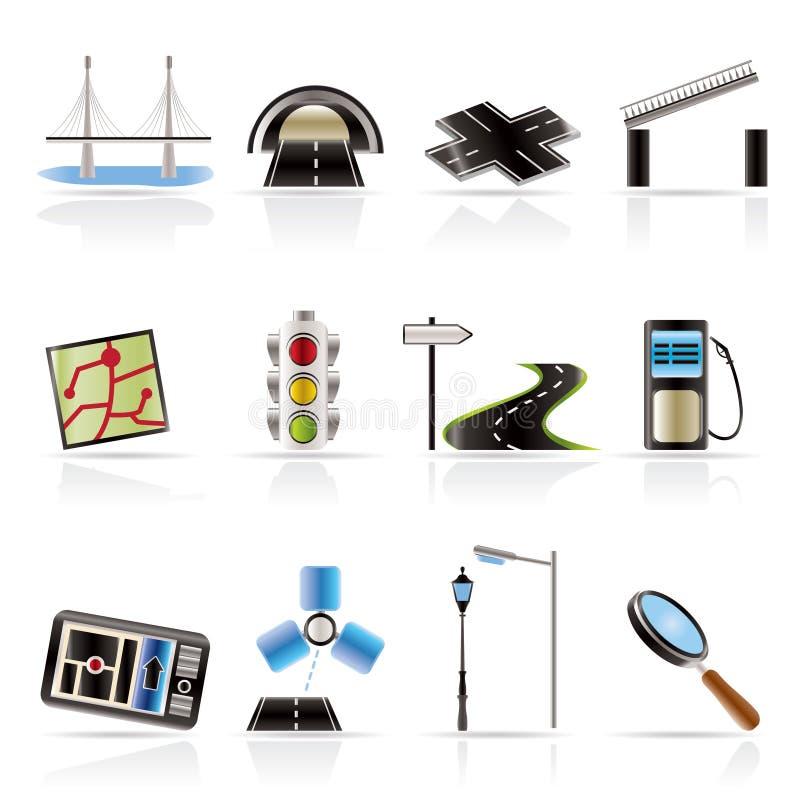 lopp för symbolsnavigeringväg stock illustrationer