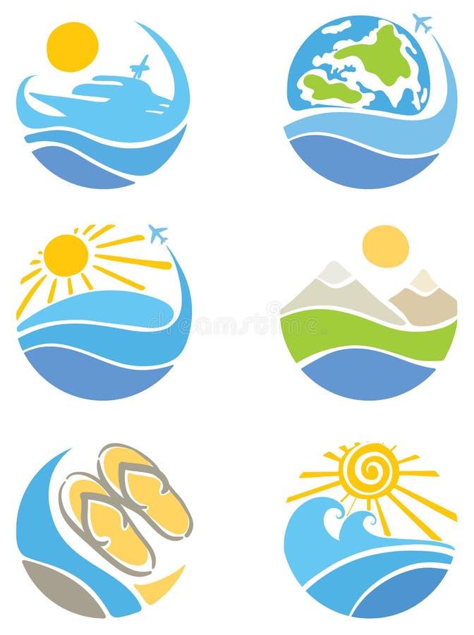 lopp för turism för symbolsfritid set stock illustrationer