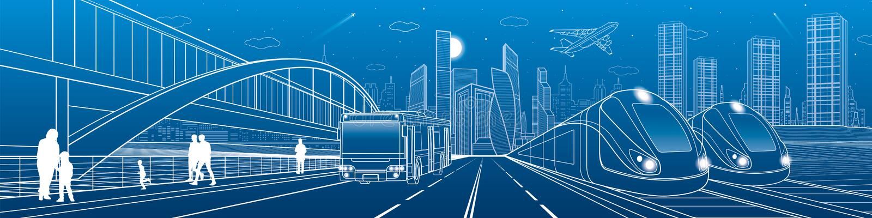 Lopp för två drev förbi stången Bussritter på stadshuvudvägen Modern nattstad stads- plats Folk som går på gatan Vita linjer på b vektor illustrationer