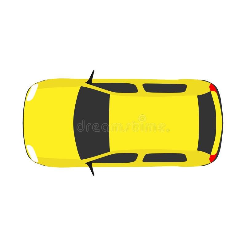 Lopp för vektor för bästa sikt för bil Ovanför den vita bakgrundsvägen Kör begreppet isolerade stads- objektsommarillustrationen  stock illustrationer