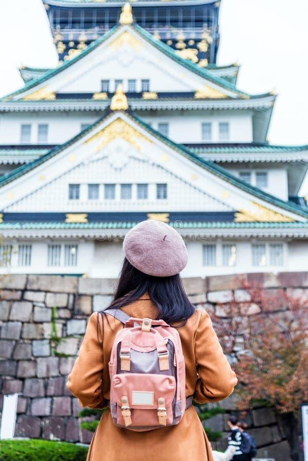 Lopp i Japan, en handelsresandesight i den Japan Osaka slotten royaltyfri fotografi