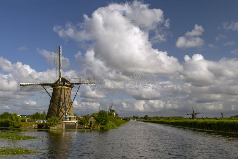 Lopp i Nederl?nderna Landskap med väderkvarnar i Kinderdijk royaltyfria bilder