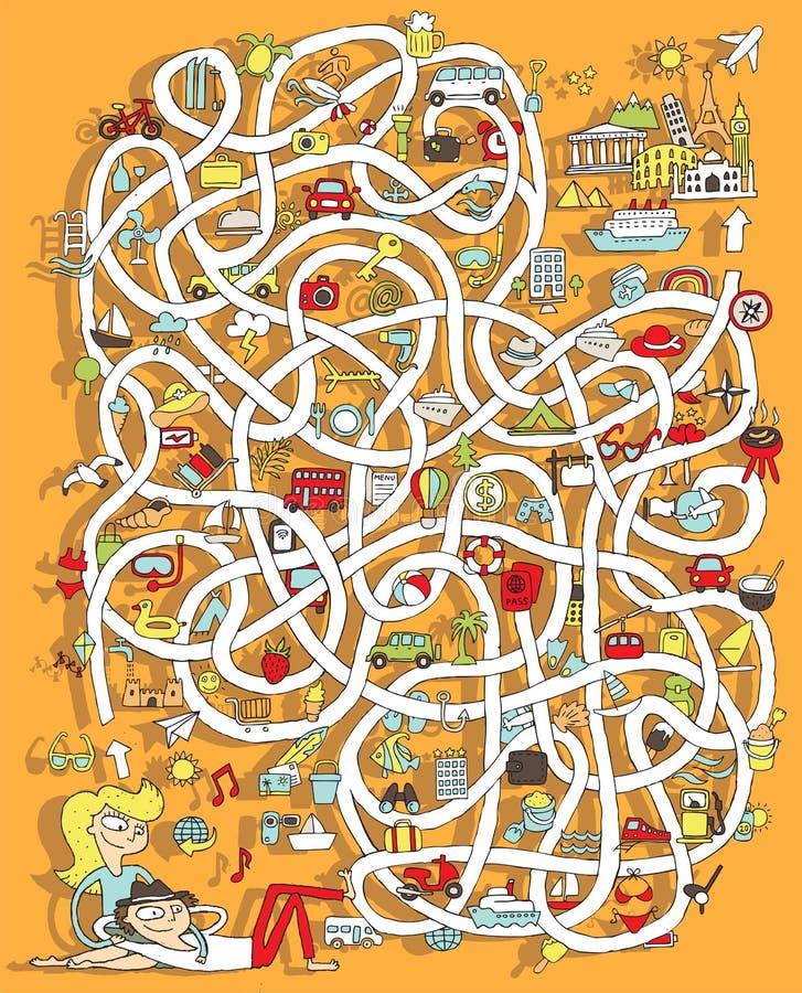 Lopp Maze Game. Lösning i gömt lager! stock illustrationer