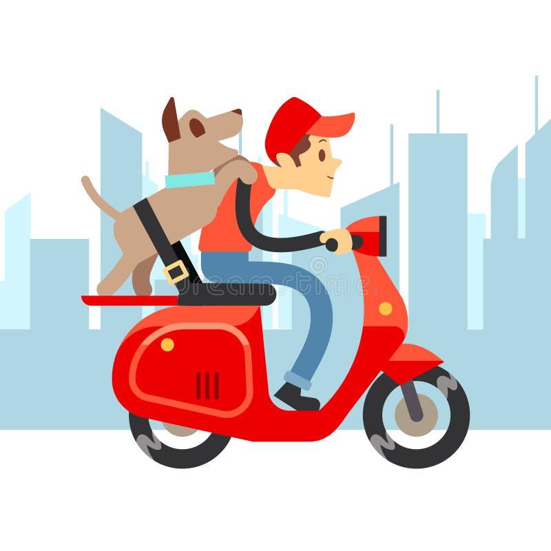 Lopp med husdjur - ung man på moto med hunden och stadslandskap royaltyfri illustrationer