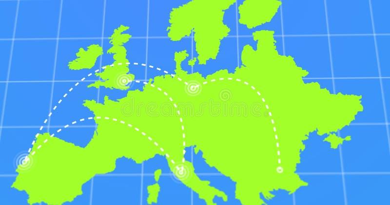 Lopp- och affärsturen Infographic på grön Europa jord kartlägger video 4k som framförs royaltyfri illustrationer