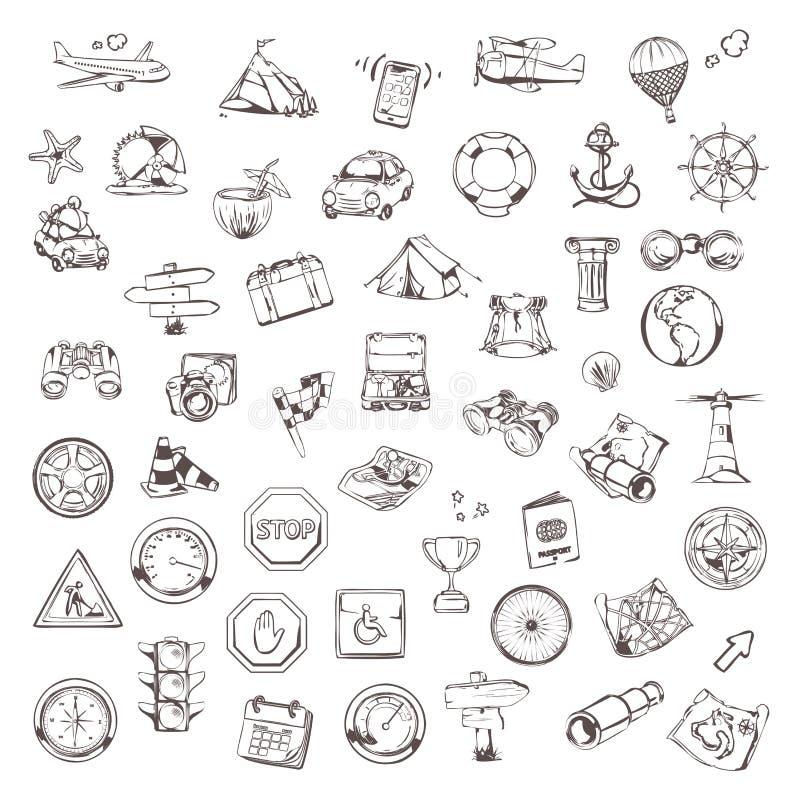 Lopp och navigering, vektoruppsättning stock illustrationer