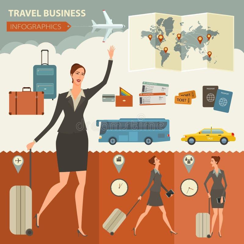 Lopp- och resaaffärsInfographic design royaltyfri illustrationer