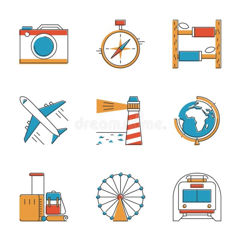 Lopp- och semesterlinje symbolsuppsättning vektor illustrationer