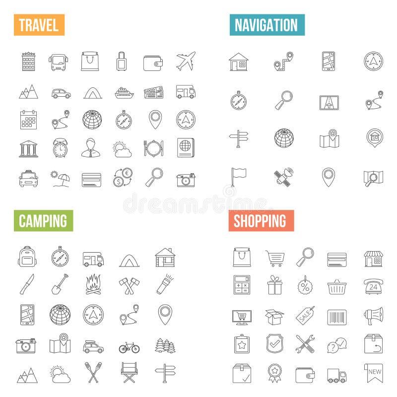 Lopp- och shoppinglinje symboler vektor illustrationer
