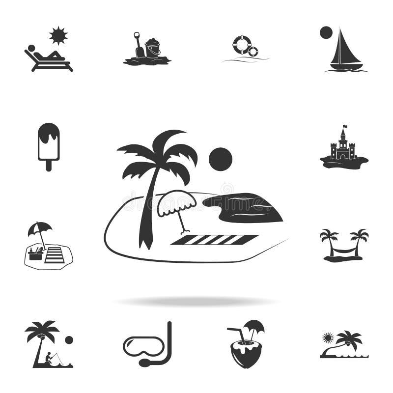 Lopp- och sommarstrandsemestern kopplar av symbolen Den detaljerade uppsättningen av stranden semestrar symboler Högvärdig kvalit royaltyfri illustrationer