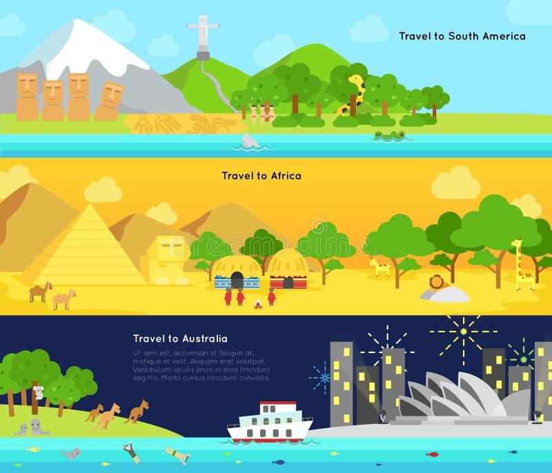 Lopp och turism till den huvudsakliga kontinenten av Sydamerika, Afric royaltyfri illustrationer