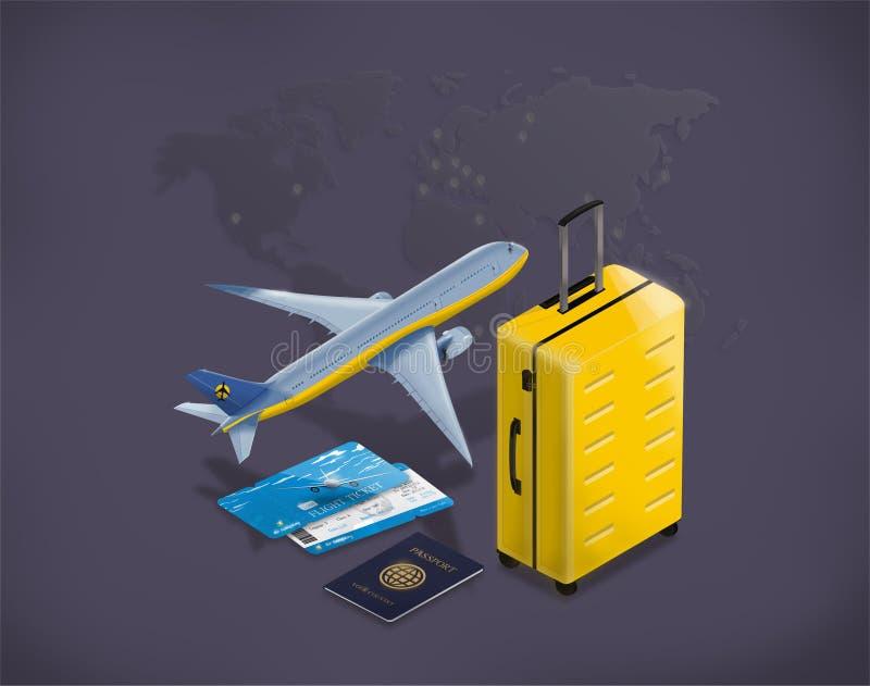 Lopp- och turismbakgrund Biljetter för köpande eller för bokning direktanslutet Resor Isometrisk plan 3d royaltyfri illustrationer