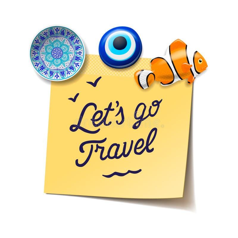 Lopp- och turismbegrepp Lets går till strandtexten på stolpen som den noterar, loppmagneter, logipasserande vektor illustrationer