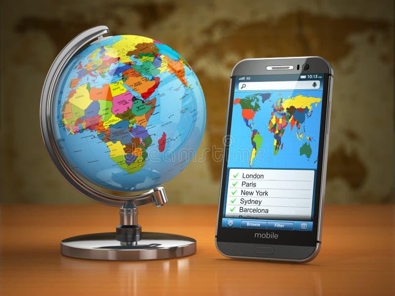 Lopp- och turismbegrepp Mobiltelefon och jordklot royaltyfri illustrationer