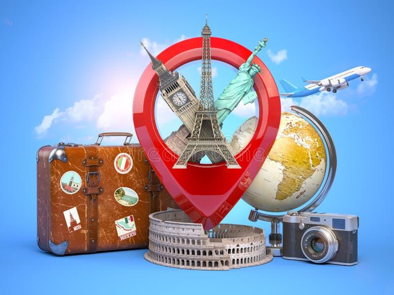 Lopp- och turismbegrepp Stiftpekare med berömda turist- dragningar, kameran, resväskan och flygplanet Eiffeltorn stora ben, royaltyfri illustrationer