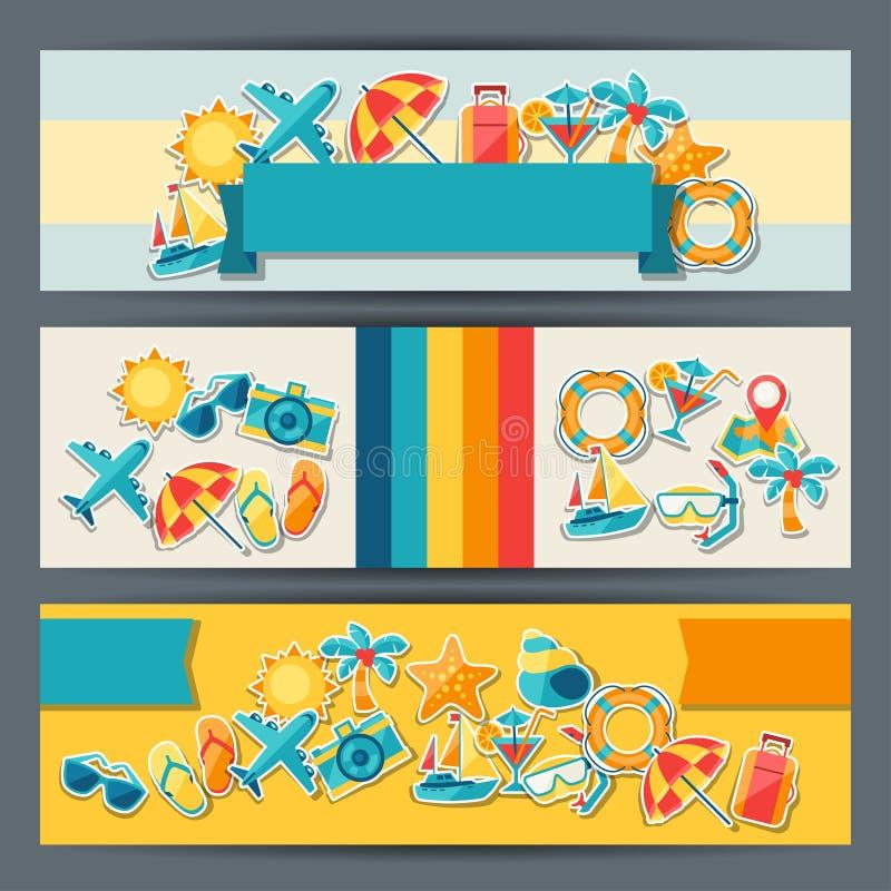 Lopp- och turismhorisontalbaner vektor illustrationer