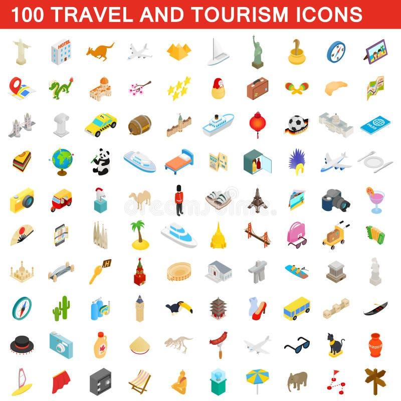 100 lopp- och turismsymboler ställde in, isometrisk stil royaltyfri illustrationer