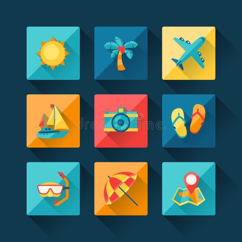 Lopp- och turismsymbolsuppsättningen i plan design utformar stock illustrationer