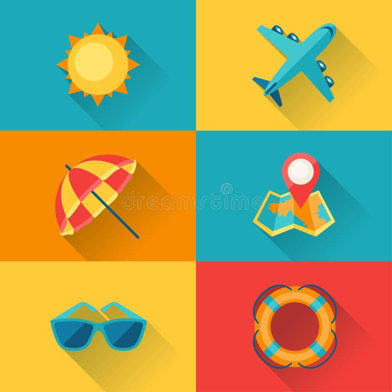 Lopp- och turismsymbolsuppsättningen i plan design utformar royaltyfri illustrationer