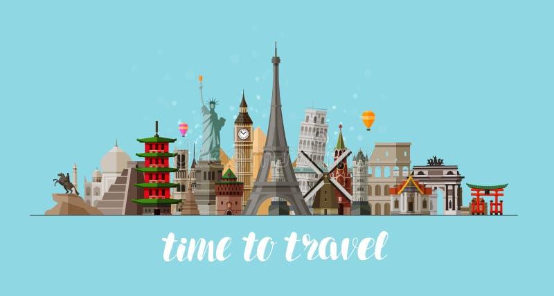 Lopp resabegrepp Berömda siktländer av världen också vektor för coreldrawillustration stock illustrationer