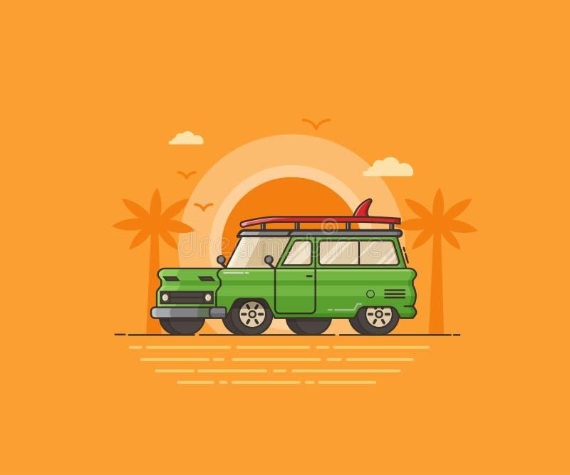 Lopp som surfar bilen på sommarstranden royaltyfri illustrationer