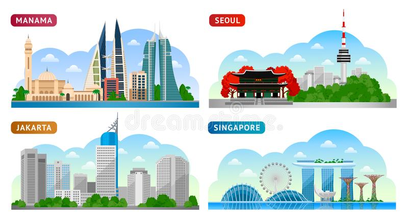 Lopp till Asien Singapore Seoul, Jakarta, Manama stock illustrationer