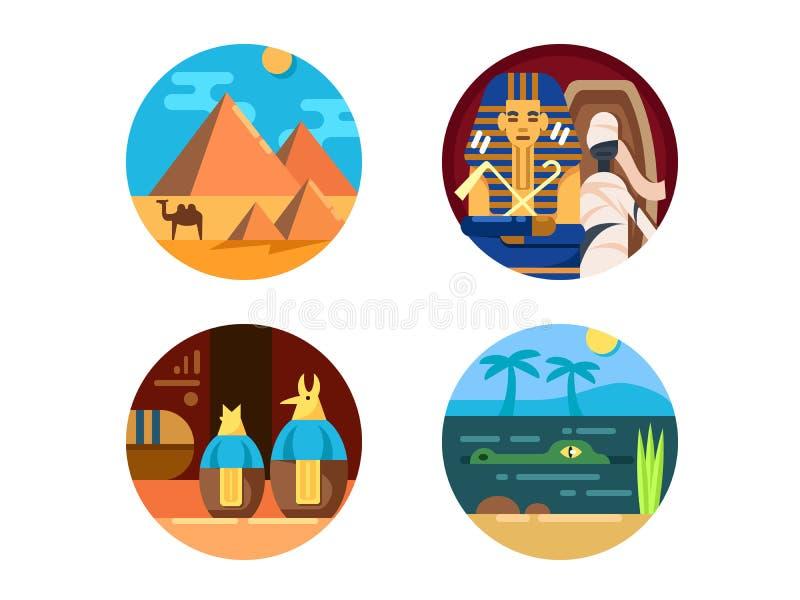 Lopp till den Egypten uppsättningen av symboler royaltyfri illustrationer
