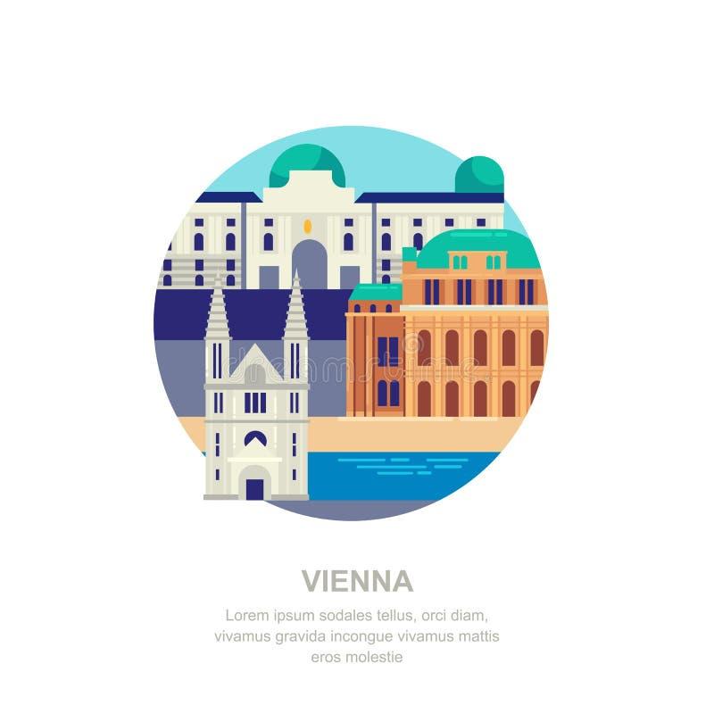 Lopp till den plana illustrationen för Österrike vektor Wien stadssymboler och touristic gränsmärken Stadsbyggnadssymboler royaltyfri illustrationer