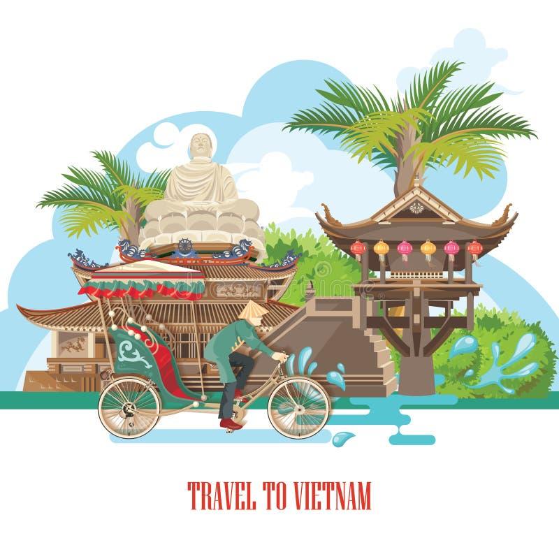Lopp till den Vietnam affischen royaltyfri illustrationer