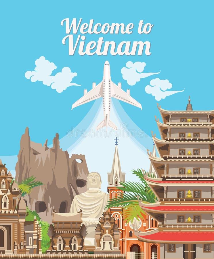 Lopp till det Vietnam kortet med vietnamesiska pagoder stock illustrationer