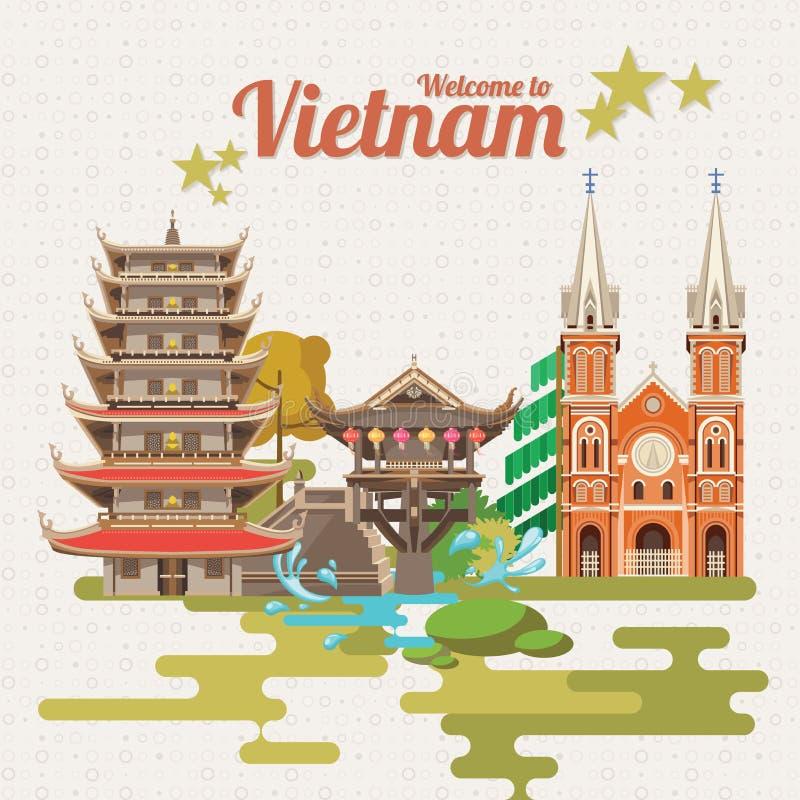 Lopp till det Vietnam kortet med vietnamesiska pagoder vektor illustrationer
