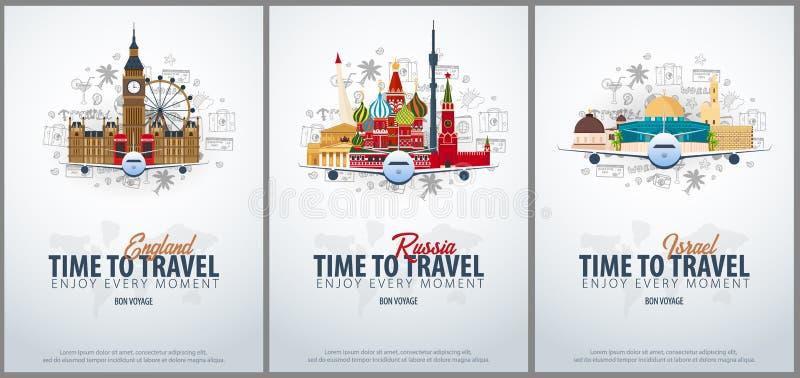 Lopp till England, Ryssland och Israel tid att löpa Baner med flygplanet och hand-attraktion klotter på bakgrunden royaltyfri illustrationer