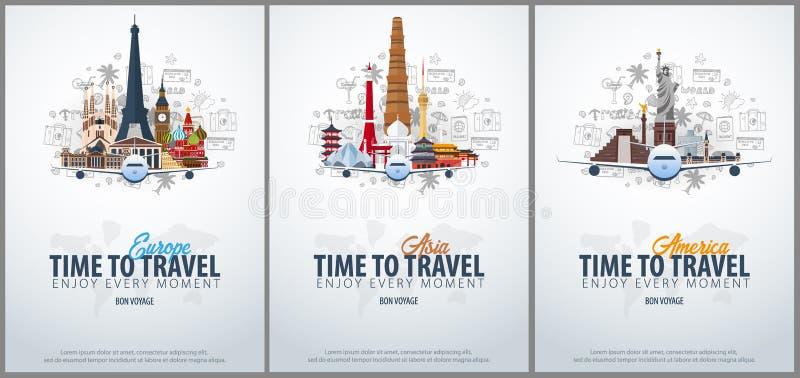Lopp till Europa, Asien och Amerika tid att löpa Baner med flygplanet och hand-attraktion klotter på bakgrunden vektor royaltyfri illustrationer