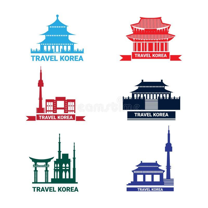 Lopp till Korea symboler uppsättning, samling av den sydkoreanska slotten för konturSeoul gränsmärken och tempel royaltyfri illustrationer