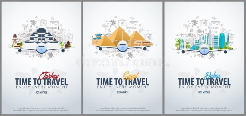 Lopp till Turkiet, Egypten och Dubai tid att löpa Baner med flygplanet och hand-attraktion klotter på bakgrunden vektor vektor illustrationer